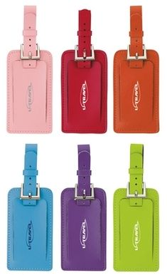Awesome Genuine Leather Bright Colored Luggage Tags! Promotional Essentials Fragolino Luggage Spotter Tag | Promotional Luggage Tags | Promotional Products