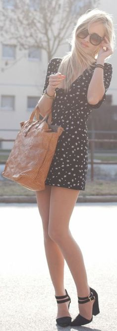 Black Stars Print Dress by The Mandarine Girl
