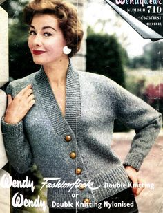 Women's 1950s Retro Fitted Deep V-Neck Cardigan with by KnitsPasse