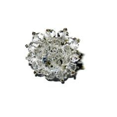 Silver Crystal Beaded Flower Ring by CloudNineDesignz on Etsy, $12.00