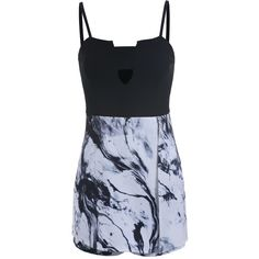 Spaghetti Strap Hollow Ink Print Black Romper (180 SEK) ❤ liked on Polyvore featuring black