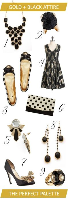 """Gold + Black Party Attire! With 6 holiday parties already on my calendar, I'm starting to ask myself the question """"what am I going to wear?"""" http://www.theperfectpalette.com/2012/11/holiday-inspiration-gold-black-party.html#"""