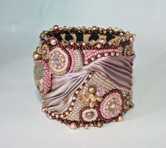 bead embroidery with shibori ribbon | Bead Embroidered Cuff Bracelet Pink Charity Flexible by ReneGibson, $ ...