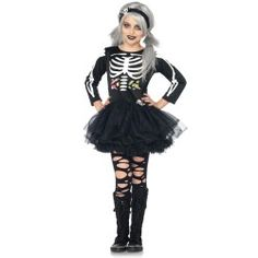 Super Cute and Super Scary Skeleton Child Costume For Girls!!