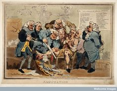 Five surgeons participating in the amputation of a man's leg while another oversees them, 1793. Wellcome Library.