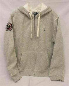 NWT Men XL Polo Ralph Lauren Heavyweight Gray Fleece Lined Ski Race Patch Hoodie