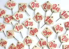 Vintage Store Price Tags from Vintage and Nostalgia Co. - one of many examples of memory-lane-inspired items at this online shop. Vintage Ephemera, Vintage Postcards, Kitsch, Playing With Numbers, Vintage Numbers, Rummage Sale, Metal Pins, Wall Patterns, Mail Art
