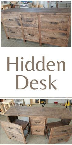 I shrunk the size and dumbed down the plans to fit my skill level. #anawhite #anawhiteplans #diy #hiddendesk #diyfurniture Diy Furniture Projects, Diy Wood Projects, Repurposed Furniture, Home Projects, Woodworking Furniture Plans, Woodworking Projects, Hidden Desk, Home Office Design, Diy Home Decor