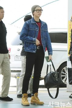 Namjoon fashion;; timberland outfit inspired by namjoon;; denim jacket, striped red and black shirt, black jeans, beanie