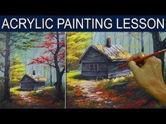 (8) Acrylic Painting Lesson - The Cabin in the Woods by JM Lisondra - YouTube