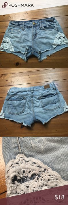 Lacey Shorts These are very unique American Eagle shorts! They are so cute, well loved, with still a lot of life left! Some picture wear on the lace but nothing noticeable when wearing. Size 0. American Eagle Outfitters Shorts Jean Shorts