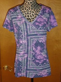 Mossimo - Purple, Navy Blue, White Tie-Dyed Short Sleeve T-Shirt #Mossimo #Blouse