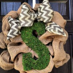 Burlap wreath with moss center letter by KilbiBranchDesigns, $70.00