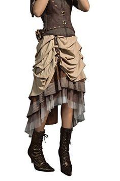 0a35480e45e HaoLin Steampunk Dress Lolita Victorian Gothic Lace Skirt Renaissance  Pirate Costume (F)