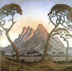Jacobus Hendrik Pierneef - painted landscape to the virtual exclusion of everything else. He developed a very distinctive style: Title: may be called Okahandja (this is so similar to linocut with that name). African Paintings, South African Artists, Landscape Paintings, Landscape Art, Art Images, Illustration Art, Illustrations, Trees, Masters