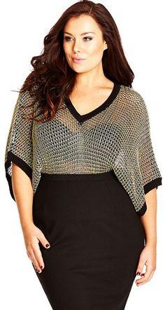 fdd183c2749 Plus Size Metallic Open Stitch Top Curvy Women Fashion