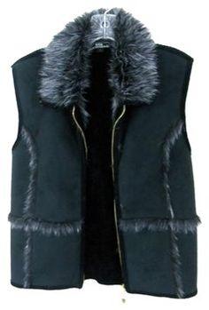 Lisa International Faux Fur Zipper Sweater Vest