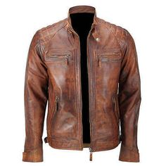 Mens Biker Vintage Motorcycle Classic Diamond Brown Distressed Leather Jacket