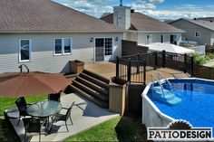 Nothing goes better with a pool than a patio built by Patio Design inc. Patio bring vacations life to your decor and improve your comfort. Pool Deck Plans, Patio Plans, Backyard Plan, Above Ground Pool Decks, In Ground Pools, Oberirdischer Pool, Swimming Pools, Outdoor Garden Furniture, Outdoor Decor