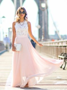 Princess Long Pink Chiffon Prom Dress with White Lace Top [PD-7822] - $132.99 : Modsele.com