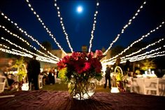 """Once you start the wedding budget process, you'll quickly discover that a """"lump"""" sum is hard to manage because all of those beautiful Pinterest pictures don't come with price tags. Some venues include lighting but if not here's a sample with lawn lighting & a sparkling chandelier. Want even more glitter? Drop chandeliers midair or drape drip lighting from trees. And add mixture of florals & candelabras. For more rustic style, lanterns in air with combo of our new Vintage Tiffany styled…"""