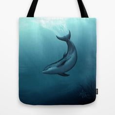 Siren of the Blue Lagoon ~ Dolphin Tote Bag by Amber Marine ••• AmberMarineArt.com •••