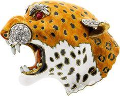 Diamond, Ruby, Enamel Pendant-Brooch. ... Estate JewelryBrooches