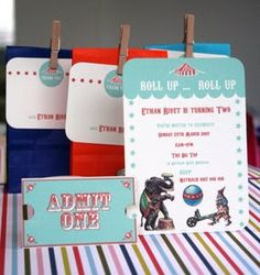 imprintables: Vintage. Love these invitations, tug of war idea, clown wigs for photo booth