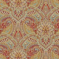 Printed paisley on a cotton linen blend with lots of fine detail and bright palette. SWEPT AWAY - BERRY Image: calicocorners.com