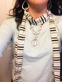 Combo of the day: A scarf worn with Easy Living necklace and Malibu earrings.