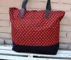 Canvas Tote Bag with leather straps in Rustic Red by PaisleyMagic, $59.99