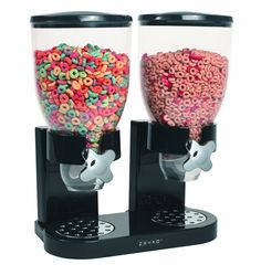 Dual Cereal Dispenser - Have you ever wanted to mix 2 separate cereals in equal quantities accurately and quickly? Neither have we. But if you do, this great dispenser deals out dry goods at a rate of one ounce per twist! A great alternative to the Rosseto Cereal Dispenser.