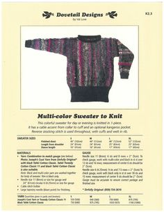 Multi-color Sweater to Knit - Dovetail Designs K2.3
