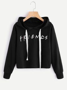 Friends Print Drop Shoulder Raw Hem Hoodie -SheIn(Sheinside)