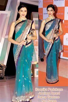 Stylish & graceful Deepika Padukone Rama Two Tone Net replica saree.