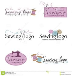 Set of six sewing logos (vector). A set of six unique logos suitable for tailors. Sewing Clipart, Boutique Logo, Sewing Logos, Clothing Logo, Sewing Art, Business Logo, Logo Design, Clip Art, Photoshop