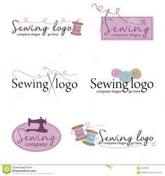 Sistema De Seis Logotipos De Costura Ilustración del Vector - Imagen: 60436967