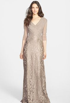 Mother of the Bride Dress: Tadashi Shoji. Sequin lace gown, $438, Tadashi Shoji available at Nordstrom