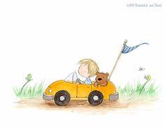 Blond or Brown Hair - Boy in Race Car with Teddy Bear - Art Print - Nursery Sweet Drawings, Car Drawings, Cartoon Drawings, Brown Hair Boy, Bear Art, Cute Wallpaper Backgrounds, Mail Art, Cute Illustration, Race Cars