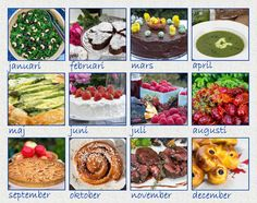 A collage of Swedish food recipes for each month during 2016