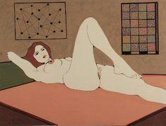 Henryk PŁÓCIENNIK (ur. 1933)  Akt leżący, 1998 rysunek kolorowany, technika mieszana, papier; 36,7 x 50 cm;