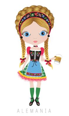 Germany Travel Doll ~ by Veronica Alvarez Paper Doll Costume, Paper Dolls, We Are The World, People Of The World, Arno Stern, German Costume, Costumes Around The World, Kawaii, Thinking Day