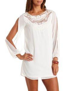 Lace Yoke Cold Shoulder Chiffon Shift Dress