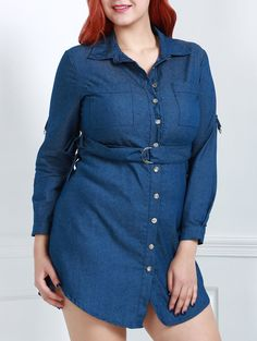 Stylish Turn-Down Collar Long Sleeve Belted Plus Size Women's Denim Dress