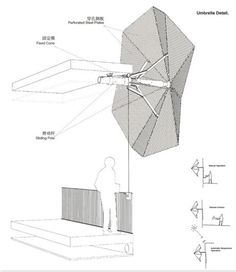 Drawing of the pulley system that will control the sun shade function. Image via 3Gatti Architecture Studio.