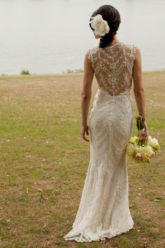 Claire Pettibone lace back wedding dress