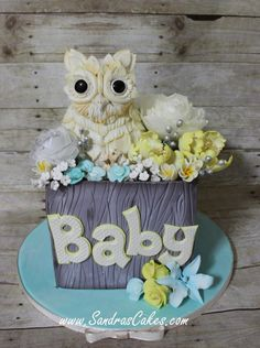 Rustic Owl themed baby shower - Cake by Sandrascakes