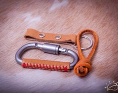 Carabiner leather wrapped keychain Key ring Key от 896LeatherShop