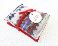Handwarmers GRAY & RED Fair Isle Felted Wool Sweater Rice Bag Hand Warmers Coworker Teacher Gift Under 10 by WormeWoole