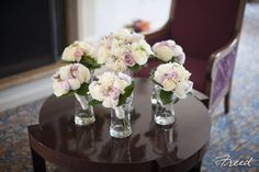 Pretty bouquets in white, and blush pink